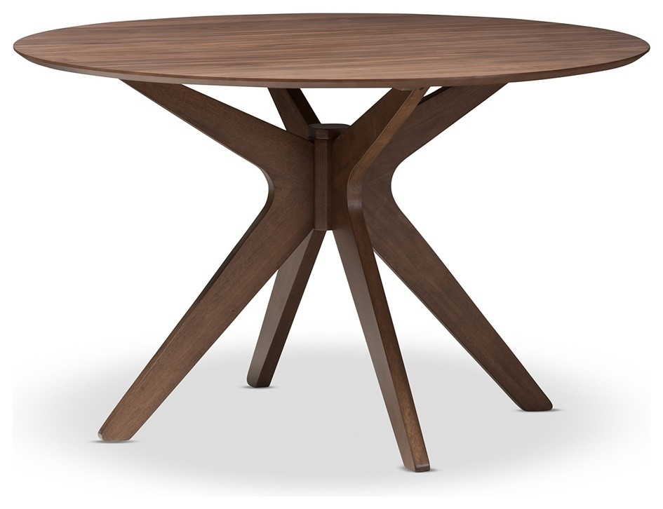 Mid Century Modern Walnut Wood 47 Inch Round Dining Table Midcentury Dining Tables By Imtinanz Llc