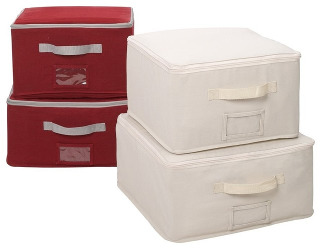 Set Of 4 Canvas Zippered Storage Bags With Window Pocket Contemporary  Storage Bins