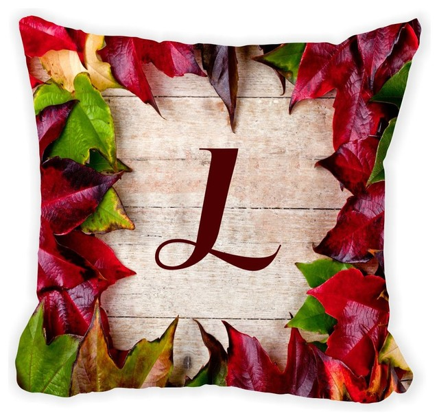 Letter Linitial Rustic Fall Leaves On Wood Microfiber Throw Pillow With Fill