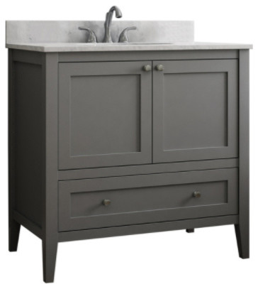 Vanguard Bathroom Vanity With 1 Bottom Drawer, Dove Gray, 30""