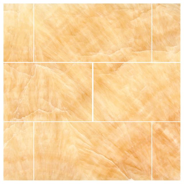 3 X6 Honey Onyx Polished Premium Brick Subway Tiles Set Of 8 Traditional
