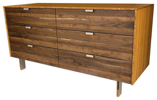 Walnut Wood Stripe Long Dresser Modern