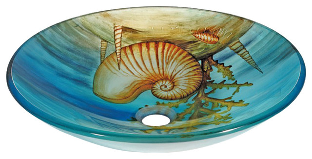 Seashells Tempered Glass Vessel Sink.