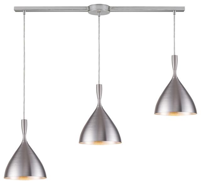 best kitchen island pendant lights, kitchen pendant lighting, kitchen lighting fixtures, ELK Lighting Spun Aluminum 3-Light Pendant