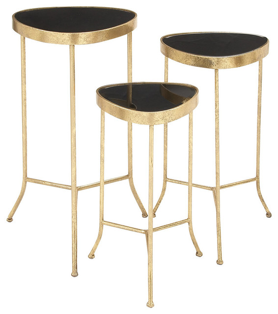 Benzara 3 piece set stylish and classy metal glass accent tables reviews houzz One piece glass coffee table