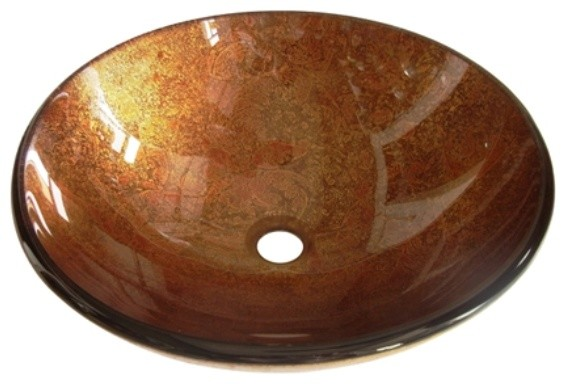 Kingston Brass Fauceture Amber Bronze Milano Round Glass Vessel Sink Evspfb2.