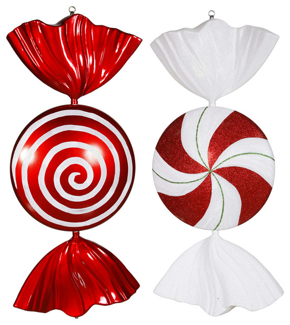 18quot Peppermint Candy Assorted Set of 2 Contemporary  : contemporary christmas ornaments from www.houzz.com size 570 x 640 jpeg 113kB