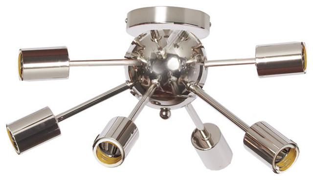 Satellite 6 Light Flush Mount Fixture Midcentury Flush