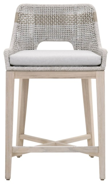 """Tapestry 26"""" Counter Stool, Taupe & White Flat Rope, Outdoor"""