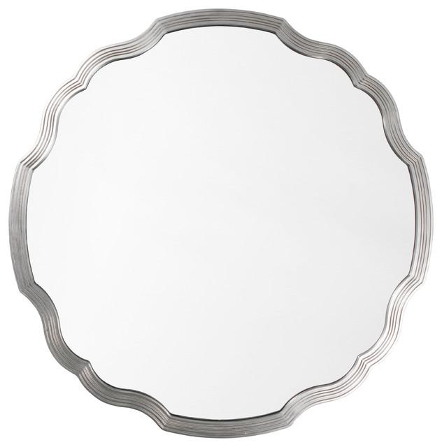 Joy Modern Classic Silver Leaf Wavy Round Mirror