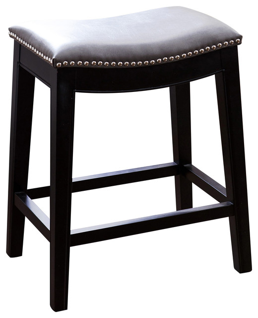 Abbyson Living Rivoli Leather Nailhead Trim Counter Stool