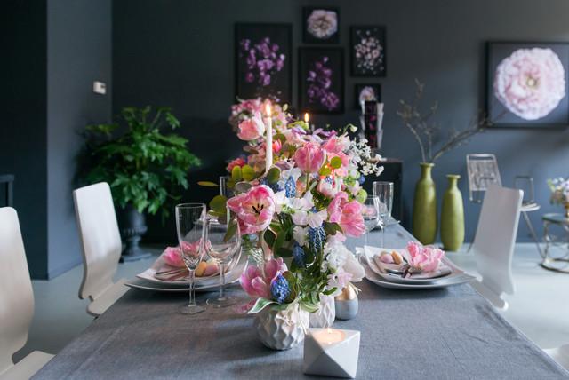 ppig und festlich eine tischdeko f r ostern mit blumen. Black Bedroom Furniture Sets. Home Design Ideas