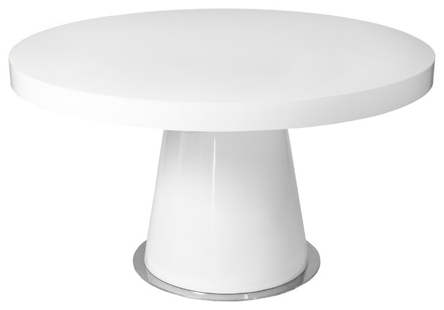 White Round Modern Dining Table dante round dining table white - modern - dining tables -
