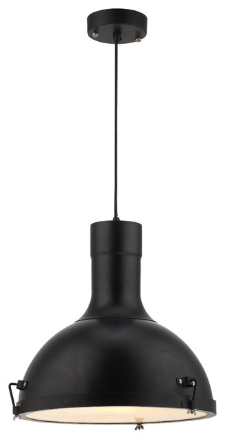 Purpose Dome Industrial Pendant Light, Black.