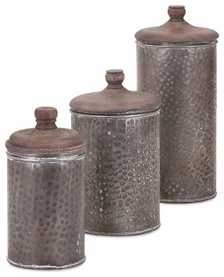 3 piece brton lidded canisters rustic kitchen