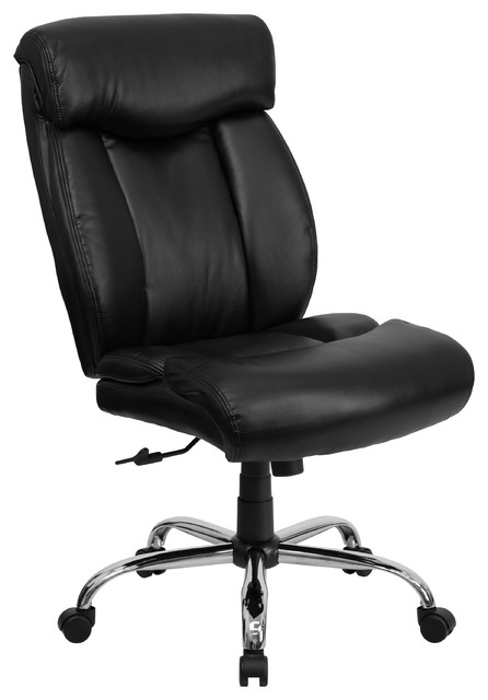 Mfo 400 Lb. Capacity Big & Tall Black Leather Office Chair.