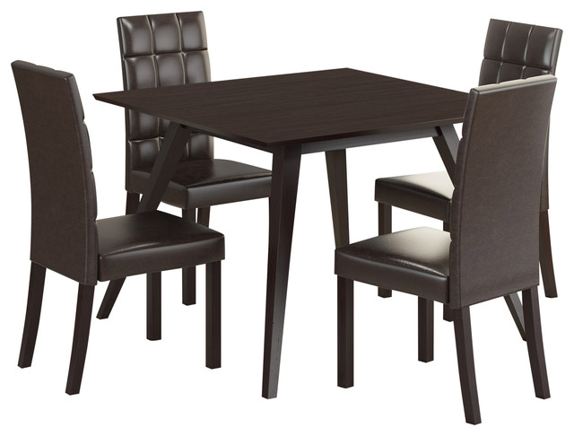 Dining Collection Atwood 5-Piece Dining Set, With Dark Brown Leatherette Seats.