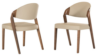 Modrest Arlo Modern Gray and Walnut Dining Chairs, Set of 2