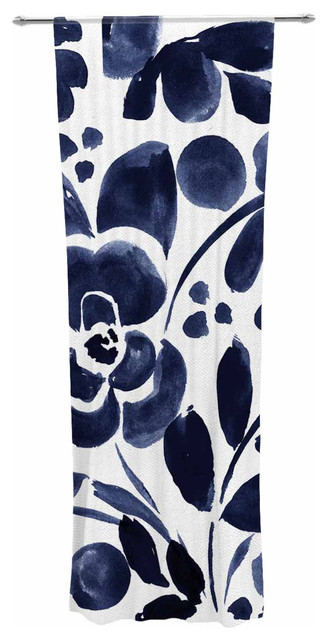 Crystal walen watercolor floral navy painting decorative for Painting sheer curtains