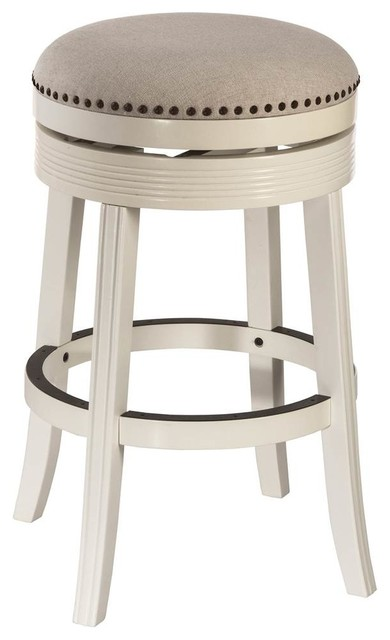 Backless Swivel Counter Stool White Finish Transitional