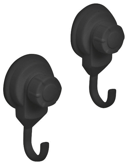 Strong Hold Suction Hook For Bath Or Kitchen, Set Of 2, Black