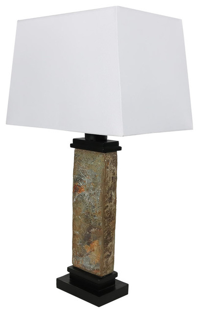 "Sunnydaze Indoor/outdoor Thin Natural Slate Table Lamp, 26"" Tall"