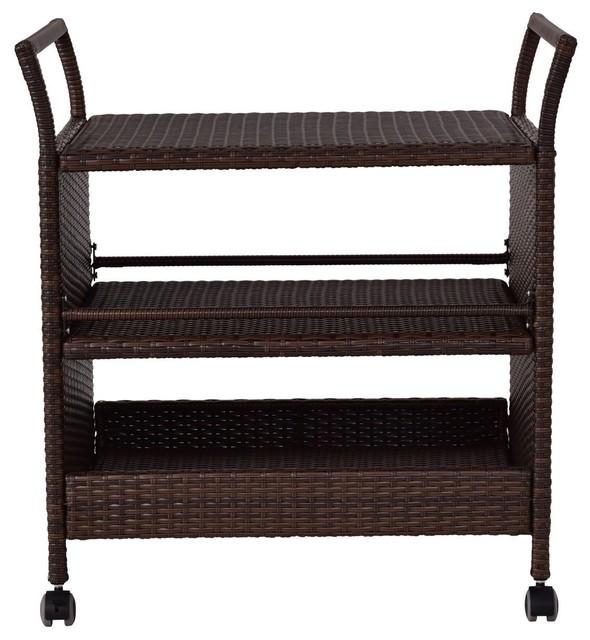 Rattan Rolling Serving Cart Storage Shelves Rack