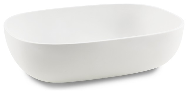 Cp White Rectangular Vessel Sink Above Counter Sink Lavatory For Vanity, Resin.