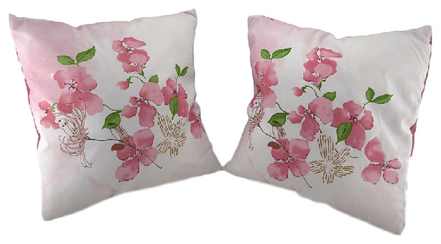 Cherry Blossom Decorative Throw Pillows With Faux Suede Backing Set Of 2
