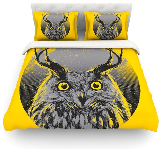 BarmalisiRTB Majesty Yellow Owl Featherweight Duvet Cover Queen 88x88 Contemporary