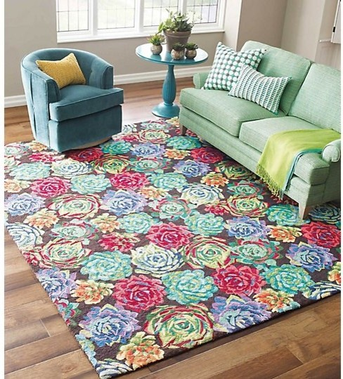 Succulents Wool Hand Hooked Rug, 2&x27;6x8&x27; Runner.
