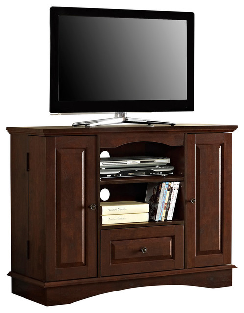 walker edison 42 in bedroom tv console with media storage traditional brown x transitional. Black Bedroom Furniture Sets. Home Design Ideas