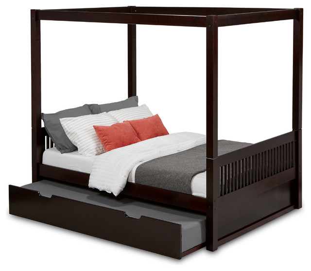 Camaflexi Full Canopy Bed With Twin Trundle, Mission Headboard, Cappuccino.