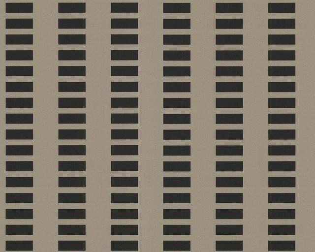 Ap 1000 Modern Stripe Cut Square Embossed Textures Cream,black Wallpaper Sample. -1
