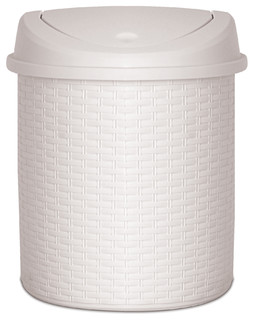 Palm Luxe Swing Top Trash Can, 22 Quart, White