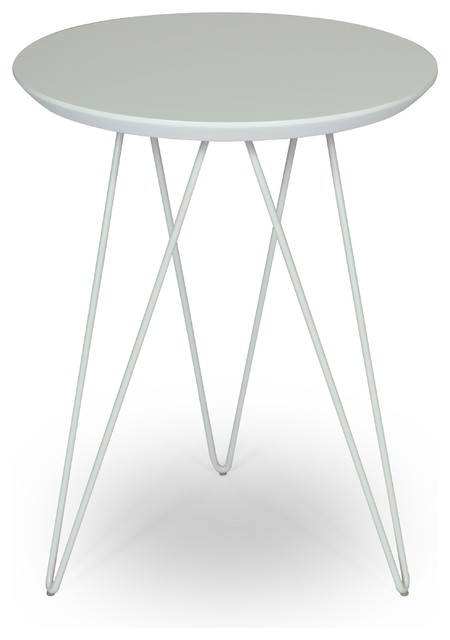 Solo Accent Table   Marble Top/White Base Contemporary Side Tables And