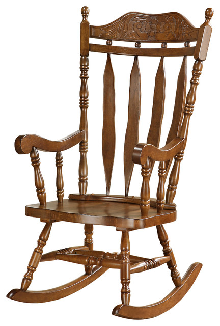 Walnut 45 quot high solid wood rocking chair traditional rocking chairs