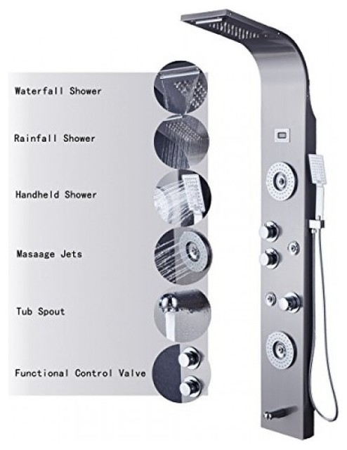 Rome 5 Function Super Luxury Shower Panel Stainless Steel Body Massage LED