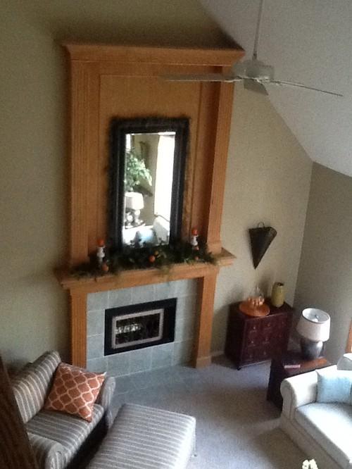 Update Golden Oak Fireplace And Window Trim