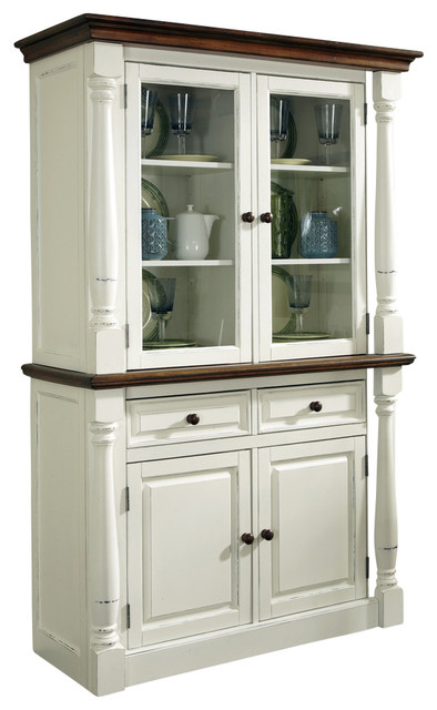 Inverness Hutch, White and Brown - Traditional - China Cabinets And Hutches - by Home Styles ...