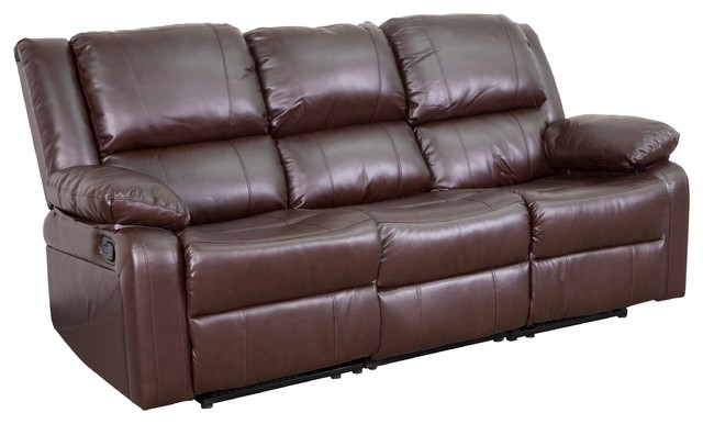 Harmony Series Black Leather Sofa with Two Built-In Recliners -  BT-70597-SOF-GG