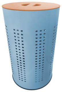 Light Blue Stainless Steel Laundry Bin & Hamper, 50L Ventilated, MDF ...