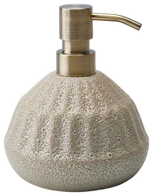 Aura Beige Ceramic Bathroom or Kitchen Pump Liquid Soap Lotion Dispenser