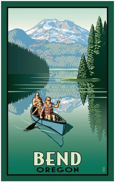Paul Leighton Bend Oregon Canoers Art Print Contemporary