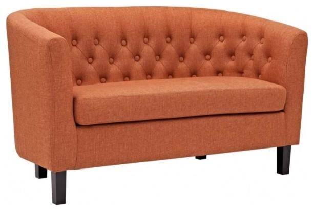 Prospect Upholstered Fabric Loveseat, Orange.