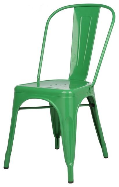 tolix style metal industrial loft designer green cafe chair