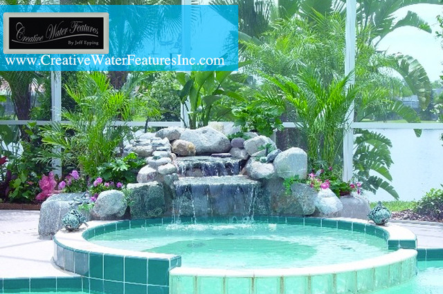 Small pool waterfall orlando by creative water for Pool design houzz