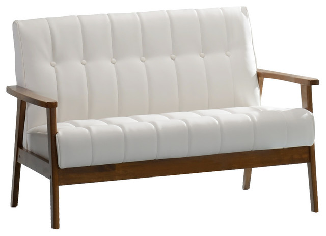 Superb Aarhus Faux Leather Loveseat White Caraccident5 Cool Chair Designs And Ideas Caraccident5Info