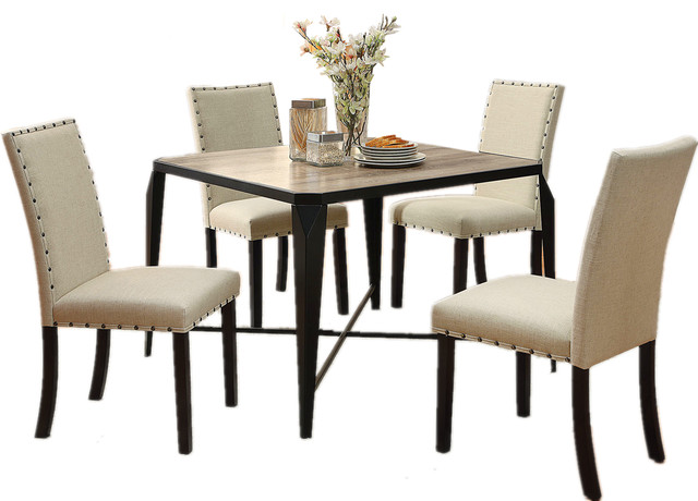 Light Oak Table Top Metal Legs Nailhead Trim Padded Chair, 5 Piece Dining