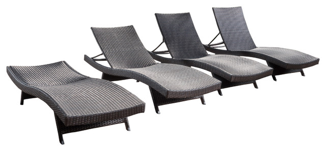 Luxury Outdoor Patio Furniture Pe Wicker Chaise Lounge Chairs, Set Of 4.